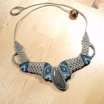 Macrame necklace obsidian Daenerys (Game of Thrones, Cosplay, Mexico, A song of Ice and Fire)