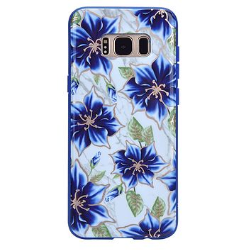 Blue Lily Chrome Floral Samsung Galaxy Case