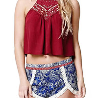 Red Halter Lace Crop Top