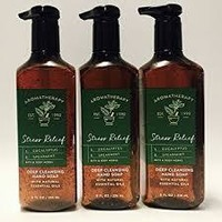 3 Bath & Body Works Aromatherapy STRESS RELIEF Eucalyptus Deep Cleansing Hand Soap
