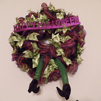 Halloween Wreath, Halloween Door Hanger, Witch Wreath, Halloween Decoration