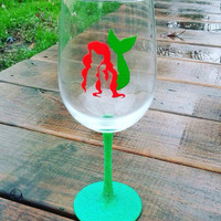 Ariel Little Mermiad wine glass, ariel wine glass, stemless wine glass, the little mermaid