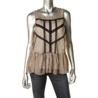 Free People Womens Textured Sleeveless Peplum Top