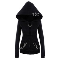 2018 Gothic Punk Women Hoodies With Rings Hooded Long Sleeve Casual Harajuku Darkness Goth Black Sweatshirt Plus Size