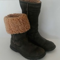 UGG Brooks Tall Brown Leather Suede Sheepskin Boots Womens Size 7