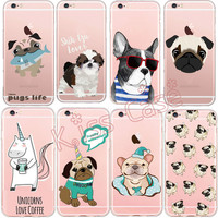 Cute Pug Bulldog Unicorn Phone Cases Cover for iPhone 6 6s 5 5s se 7 7plus Case Coffee Cup Design Transparent Soft TPU Case Capa