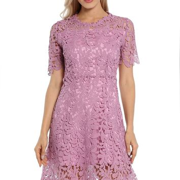 Avoir Aime Floral Lace Dress Overlay Double Layer Short Sleeve Collect Waist A-Line Knee Length Dress