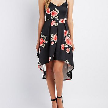 Floral High-Low Skater Dress