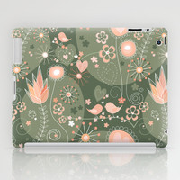 Whimsical garden in grey and orange iPad Case by Silvianna