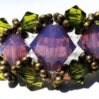 Stunning Antiqued Brass Purple Opal and Pea-Green Swarovski Crystal Bicone Beaded Royalty Ring with Elastic Seed Beaded Band
