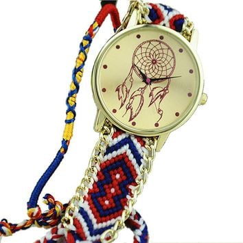 Red, White and Blue Dream Catcher Friendship Bracelet Watch