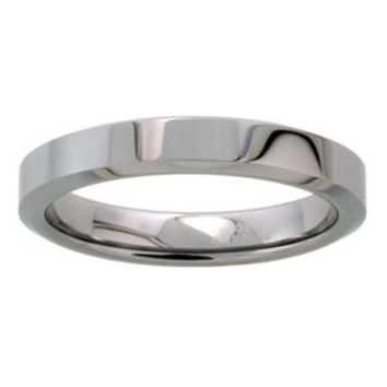 "Tungsten 4 mm (5/32"""") High Polish Flat Band / Thumb Ring.: Size 5.5"