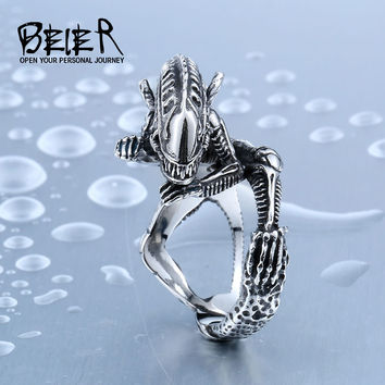 Beier 316L Stainless Steel Ring Alien Predator Finger Rings For Men Gothic Style Movie Ring BR8-358