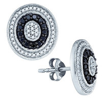 Black Diamond Fashion Earrings in 10k White Gold 0.51 ctw
