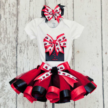 First Birthday Girl Ladybug Outfit - Onesuit or T-Shirt with 3D Present Detail & Age Number w/ Red and Black Ribbon Trim Tutu
