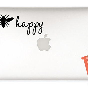 Bee Happy Vinyl Decal Sticker - Be happy sticker - DIY quote - Bee Happy car decal, laptop decal, car sticker, laptop sticker, mirror decal