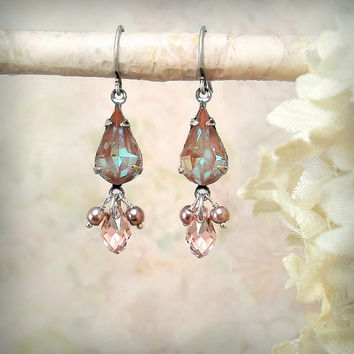 Sappharine Teardrop Dangle Earrings, Rare Vintage Glass Saphiret Earrings, Dusty Rose Pink Mauve Taupe Brown Azure Aqua Blue Dangle Earrings