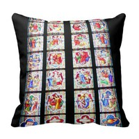 Cologne Cathedral - Stained-Glass Church Window Throw Pillow