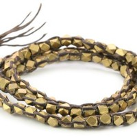 M.Cohen Hand made Designs Triple Layer Wrap with Cornerless Brass Bead on Brown Wax Cord