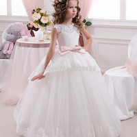 Princess White Tulle Lace Tutu Ball Gown Long Flower Girl Dresses 2016 Girls First Communion Birthday Dresses vestido de daminha
