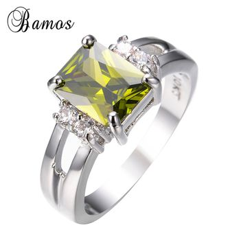 Bamos Male Female Peridot Geometric Ring Fashion 925 Sterling Silver Filled Jewelry Vintage Wedding Rings For Women