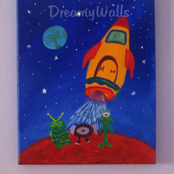 SPACE ROCKET painting on canvas for boys room, 8x10 Original Painting
