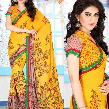 Classy Casual Silk/Georgette Saree beautified with Lovely Prints and Colors
