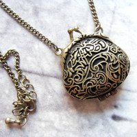 lovely bronze purse bag locket pendant vintage necklace long boho chic