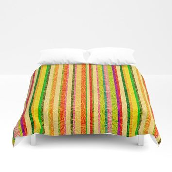 Colorful Stripes and Curls Duvet Cover by gx9designs