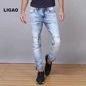 LIGAO Men's Jeans Breathable Patched High Elastic Penci Pants Trousers Slim Straight White Washing Men Denim Pant Plus Size