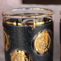 3 MCM black and gold raised gold coin tumblers, vintage Libbey gold coin glasses, retro bar glasses, Mid century bar cart highball glasses