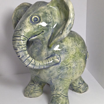 Christmas Gift / Elephant / Coin Bank / Animal Sculpture / Blues & Greens / Piggy Bank / Handmade Pottery / Ceramic Bank / Family Heirloom
