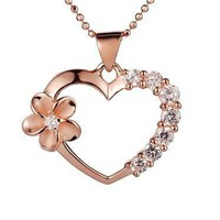PINK/ROSE GOLD PLATED SILVER 925 HAWAIIAN PLUMERIA FLOWER HEART CZ PENDANT