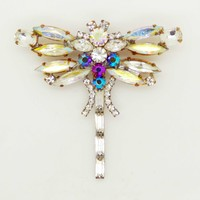 Czech Glass AB Rhinestone Dragonfly Brooch, Figural Pin