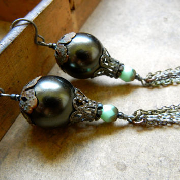 SALE: 20 Percent OFF the ENTIRE shop - Jaded Jewels Long Vintage Beaded Earrings