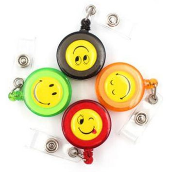 New 20pcs Smiling Face Retractable Lanyard ID Card Badge Holder Reels With Clip Keep ID Key and Cell phone Safe Free Shipping