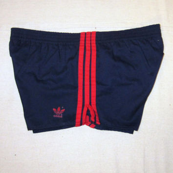 Vintage Amazing 80s ADIDAS STRIPED ATHLETIC Soccer Gym Work Out Medium Large Lined Poly Cotton Short Shorts