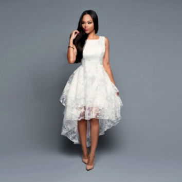White High-Low Floral Lace Formal Midi Skater Dress