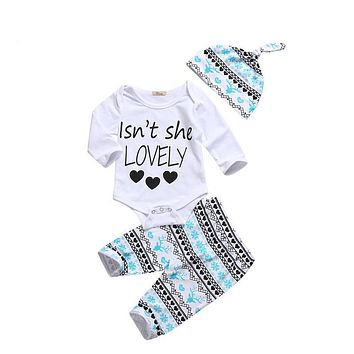 3PCS Christmas Baby Clothes Set Newborn Baby Boy Girl Romper Pants Leggings Hat New Arrival Fall  Outfits Set