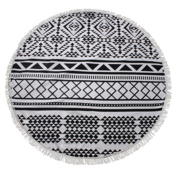 Black & White Aztec Print Round Beach Towel/Yoga Mat Tapestry