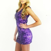 Haute Purple Sleeveless Sequin Sparkle Mini Dress