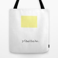 Minimalist Yellow Hello Tote Bag by Blue Specs Studio | Society6