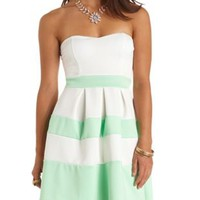 Striped Sweetheart Strapless Skater Dress - Pale Mint Combo