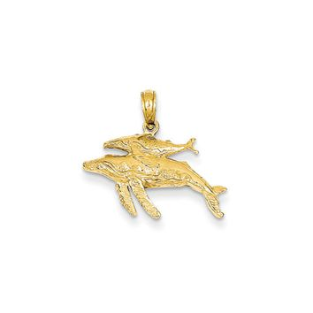 14k Yellow Gold Mother and Baby Humpback Whale Pendant