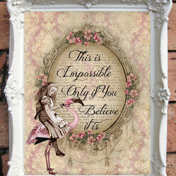 ALICE in Wonderland Quote Art Print. Alice in wonderland decoration. Shabby Chic Decor. Decor Wall Art. Alice in wonderland print C:A030