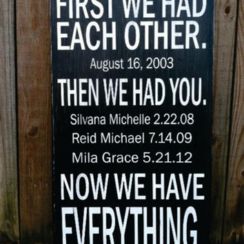 "First We Had Each Other Personalized - Subway Sign - Hand Painted and Distressed -11""X20"""