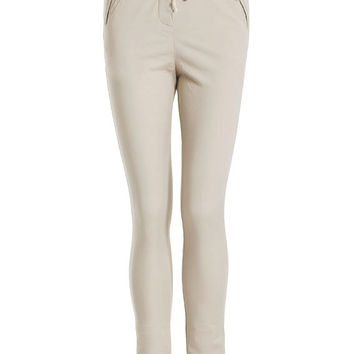 Cream Long String Skinny Women Summer Cotton Pants