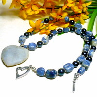 Blue Sodalite Jasper Heart Pendant Swarovski Night Blue Pearl Necklace