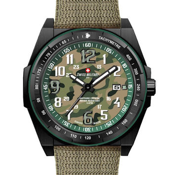 Swiss Military by R 50505 37N V Commando Men's Watch Green Camo Dial