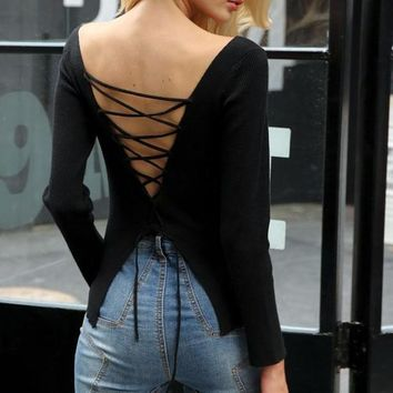 Criss-Cross Open-Back Sweater